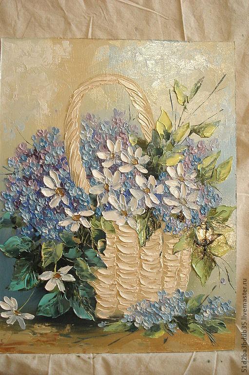 Картины цветов ручной работы. Ярмарка Мастеров - ручная работа. Купить незабудки с ромашками. Handmade. Голубой, картина для интерьера, цветы