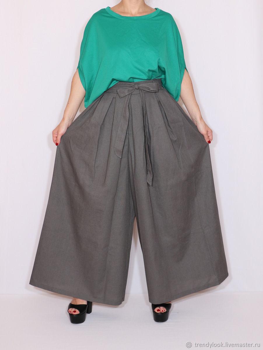 Широкие льняные брюки,летние штаны, темно-серый лен, Брюки, Сочи,  Фото №1