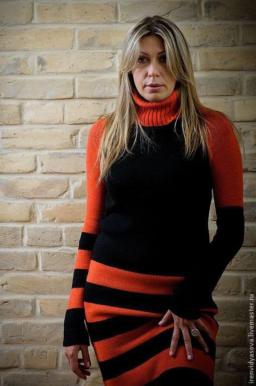 """Платья ручной работы. Ярмарка Мастеров - ручная работа. Купить Платье """"Персик"""" Продано. Handmade. В полоску, черный, оранжевый"""