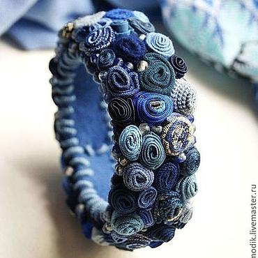 """Украшения ручной работы. Ярмарка Мастеров - ручная работа браслет """"Небесная лазурь"""" синий с тонированым кварцем. Handmade."""