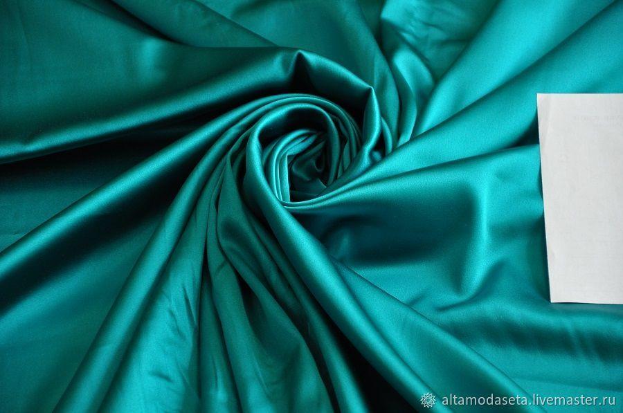 Шелк атласный бирюзового цвета из Италии, Ткани, Москва,  Фото №1