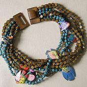 "Украшения handmade. Livemaster - original item Wooden necklace ""Turquoise pool"". Handmade."