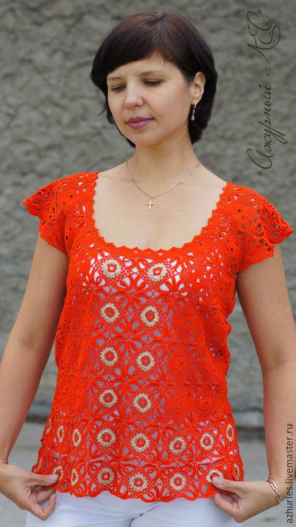 Summer top Lace top Fishnet top Orange top Summer blouse top Dressy Elegant blouse