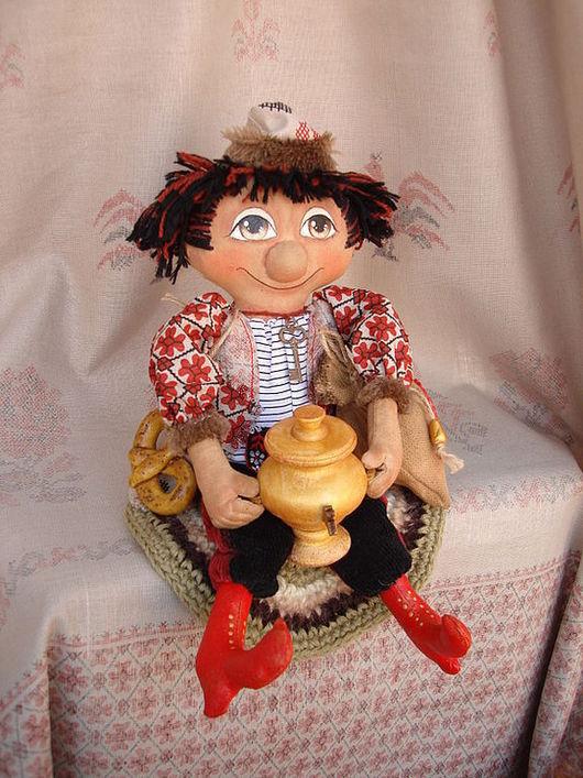 Сказочные персонажи ручной работы. Ярмарка Мастеров - ручная работа. Купить В красных сапогах! Домовой с самоваром - кукла текстильная. Handmade.
