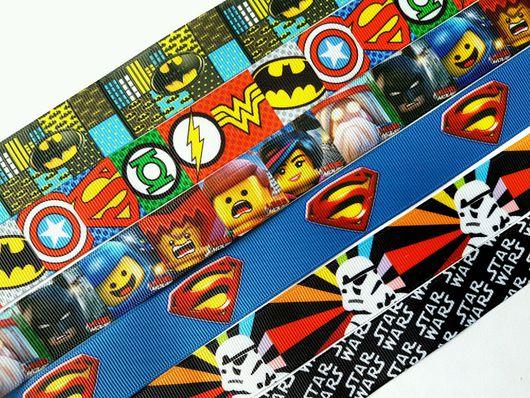 """Аппликации, вставки, отделка ручной работы. Ярмарка Мастеров - ручная работа. Купить Лента репсовая """"Лего. Бэтмен. Супермен"""". Handmade."""