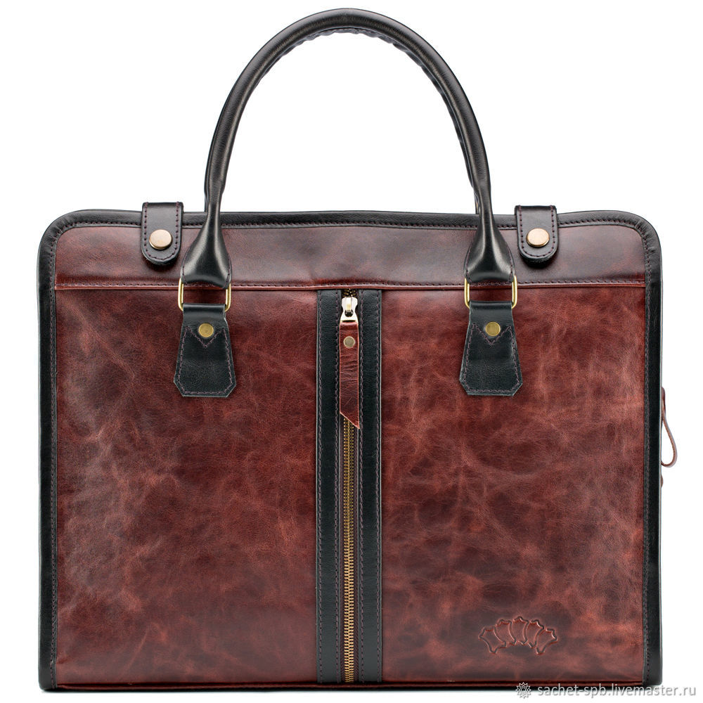Leather business bag 'Justin' (antique brown), Classic Bag, St. Petersburg,  Фото №1