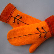 Аксессуары handmade. Livemaster - original item Mittens felted orange mood. Handmade.