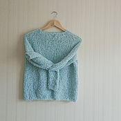 """Одежда ручной работы. Ярмарка Мастеров - ручная работа Мятный свитер """"Мятный букляш"""" ручной работу из буклированной пряжи. Handmade."""