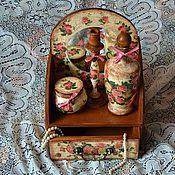 """Сувениры и подарки ручной работы. Ярмарка Мастеров - ручная работа Набор для туалетного столика """"Розовый шик"""". Handmade."""