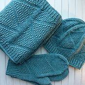 Аксессуары ручной работы. Ярмарка Мастеров - ручная работа Вязаный комплект Sea wave шапка, шарф-снуд и варежки. Handmade.