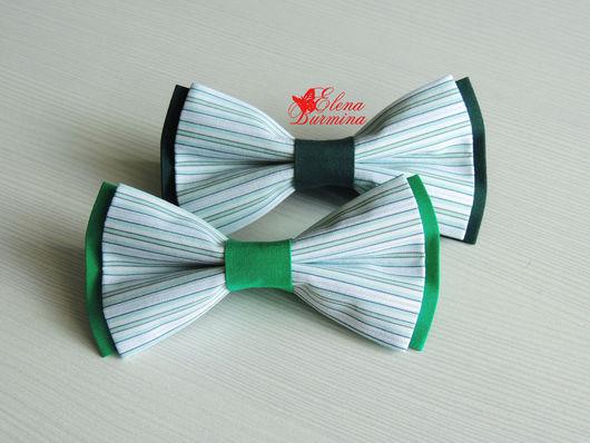 Галстуки, бабочки ручной работы. Ярмарка Мастеров - ручная работа. Купить Бабочка галстук полосатая зеленая, хлопок. Handmade. белый
