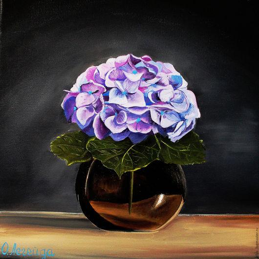 Картины цветов ручной работы. Ярмарка Мастеров - ручная работа. Купить Картина маслом  Гортензия в вазе. Handmade. Картина