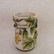 """Для дома и интерьера ручной работы. Ярмарка Мастеров - ручная работа Карандашница- ваза """" Огурчики"""". Handmade."""