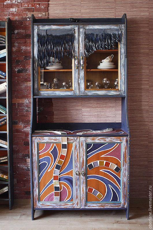 """Мебель ручной работы. Ярмарка Мастеров - ручная работа. Купить Буфет бохо """"Чарро"""". Handmade. Синий, ковбойский стиль, кожа"""