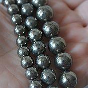Материалы для творчества handmade. Livemaster - original item The smooth pyrite beads 8mm, 10mm, 13mm. Handmade.