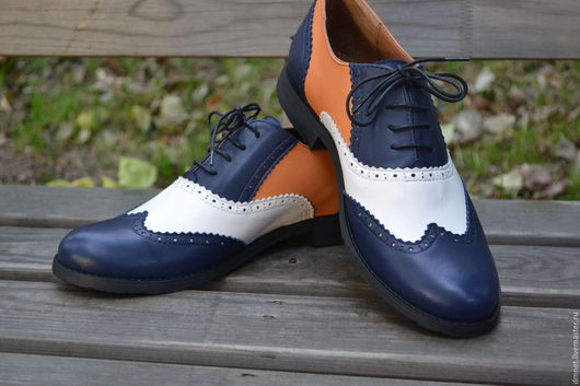 Обувь ручной работы. Ярмарка Мастеров - ручная работа. Купить Оксфорд женский трехцветный MARIY. Handmade. Синий, оксфорд