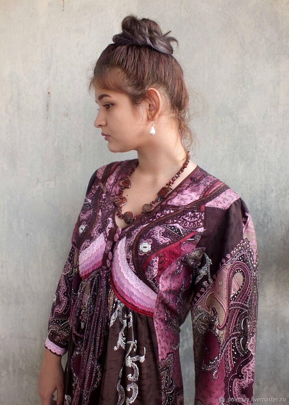 8f9ab5f78e5 Plus Size handmade. Livemaster - handmade. Buy Dress Bohemian  Garnet and  chocolate.
