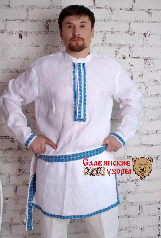 """Одежда ручной работы. Ярмарка Мастеров - ручная работа. Купить Рубаха """"Алатырь"""" синий. Handmade. Белый, рубаха в славянском стиле"""