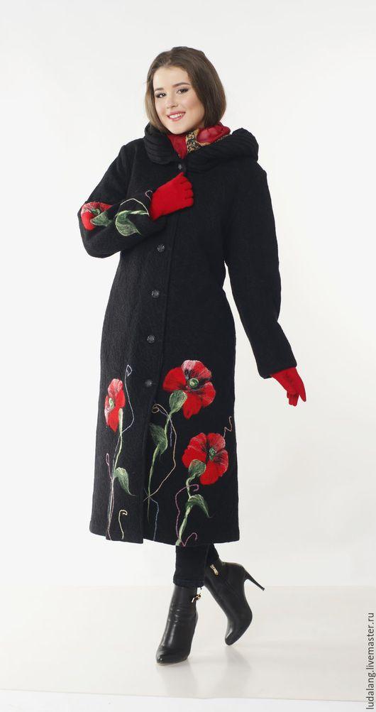 Большие размеры ручной работы. Ярмарка Мастеров - ручная работа. Купить Пальто большого размера  Русский шик. Handmade. Черный