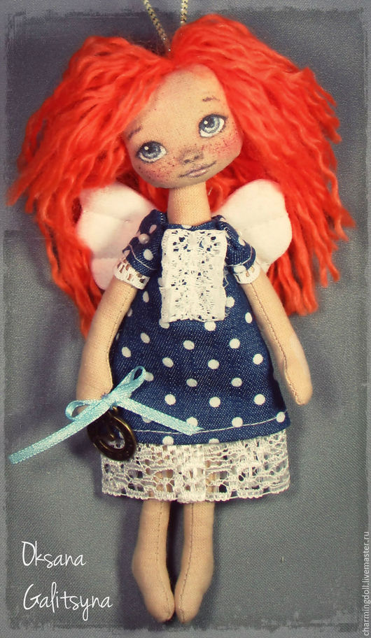 Человечки ручной работы. Ярмарка Мастеров - ручная работа. Купить Ангел текстильный. Интерьерная кукла. Handmade. Синий, веснушки