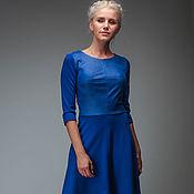 Одежда ручной работы. Ярмарка Мастеров - ручная работа Комбинированное  трикотажное платье с замшей и юбочкой полусолнце. Handmade.