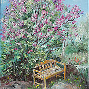 Картины и панно handmade. Livemaster - original item Oil painting. the bench under the lilac. Handmade.