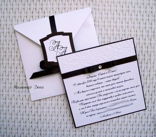 Свадебные открытки ручной работы. Ярмарка Мастеров - ручная работа. Купить Приглашение-карточка в коробочке. Handmade. Синий, приглашения на заказ
