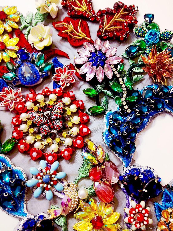 Дизайнерская вышивка стразами на кружеве, Аппликации, Санкт-Петербург,  Фото №1