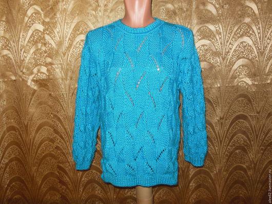 """Кофты и свитера ручной работы. Ярмарка Мастеров - ручная работа. Купить Пуловер с рельефным узором """"Бирюза"""". Handmade. Пуловер вязаный"""