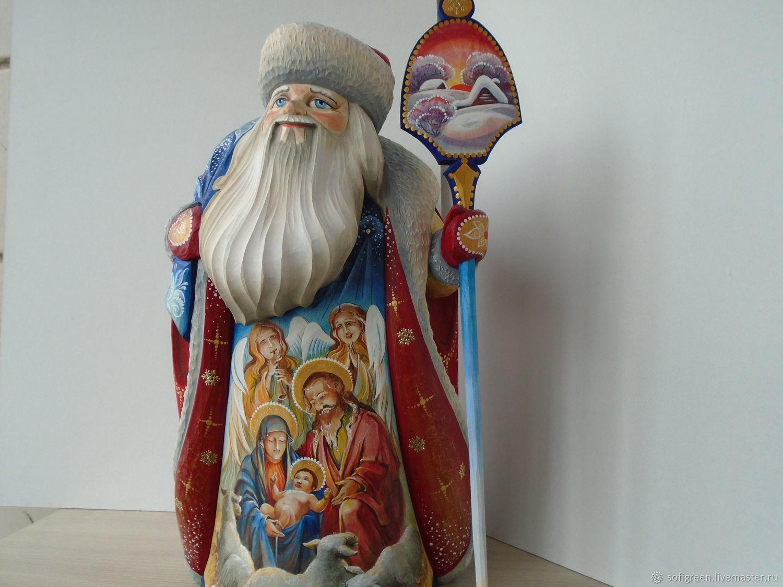 "Дед Мороз""Рождество"", резьба, авторская роспись, Ded Moroz and Snegurochka, Sergiev Posad,  Фото №1"