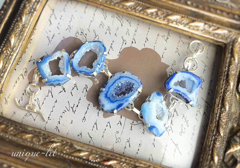 Bracelet of pale blue agate Druze, Cuff bracelet, Pushkino,  Фото №1
