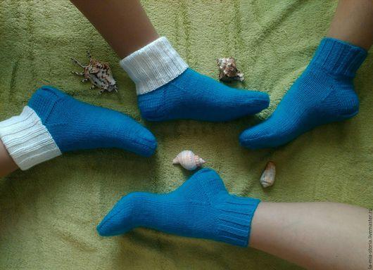 Носки, Чулки ручной работы. Ярмарка Мастеров - ручная работа. Купить Носочки вязаные, василек. Handmade. Синий, носки вязаные