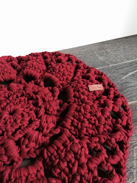 Текстиль, ковры ручной работы. Ярмарка Мастеров - ручная работа. Купить Гигантовязанный коврик из 100% хлопка цвета Бордо. Handmade.