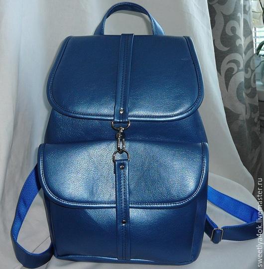 Рюкзаки ручной работы. Ярмарка Мастеров - ручная работа. Купить Городской рюкзак ЛАЗУРНЫЙ. Handmade. Синий, лазурный, кожзам