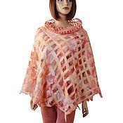 handmade. Livemaster - original item Elegant openwork felted Poncho made of Merino wool
