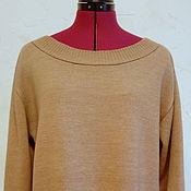 Одежда handmade. Livemaster - original item Beige Merino jumper with boat neckline. Handmade.