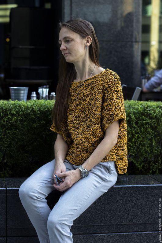 Кофты и свитера ручной работы. Ярмарка Мастеров - ручная работа. Купить горчичный летний свитшот. Handmade. Комбинированный, yana knitwear