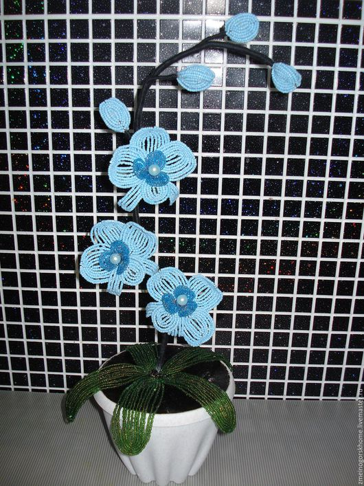 Орхидея `Голубая Лагуна`! Очень красивая,нежная сделана в голубом цвете.