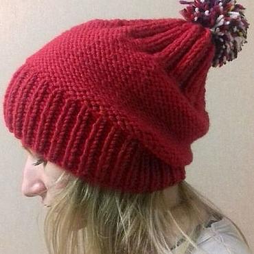 Аксессуары ручной работы. Ярмарка Мастеров - ручная работа Шапка вязаная женская зимняя модная шерстяная красная шапка с помпоном. Handmade.