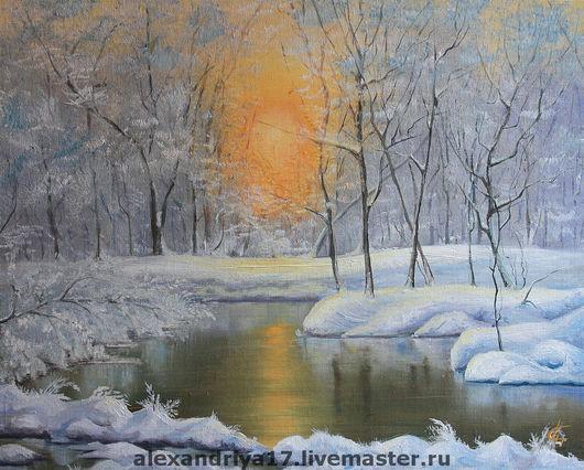 Пейзаж ручной работы. Ярмарка Мастеров - ручная работа. Купить Картина «Закат в зимнем лесу». Handmade. Картина, пейзаж, Снег