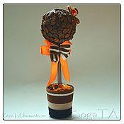 """Цветы и флористика ручной работы. Ярмарка Мастеров - ручная работа Кофейный топиарий - """"оранжевое настроение"""". Handmade."""