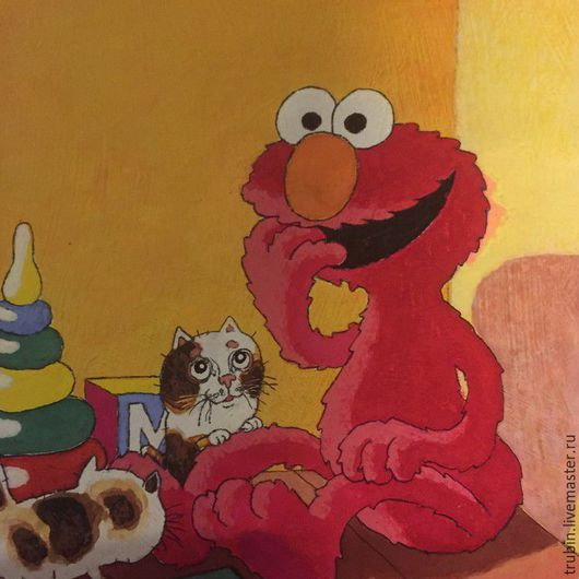 """Фантазийные сюжеты ручной работы. Ярмарка Мастеров - ручная работа. Купить """"Улица Сезам""""акварельная работа. Handmade. Ярко-красный, элмо"""
