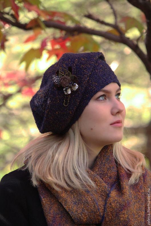 """Шапки ручной работы. Ярмарка Мастеров - ручная работа. Купить Валяная шапочка """"Осенний вечер"""". Handmade. Разноцветный, красивая шапочка"""
