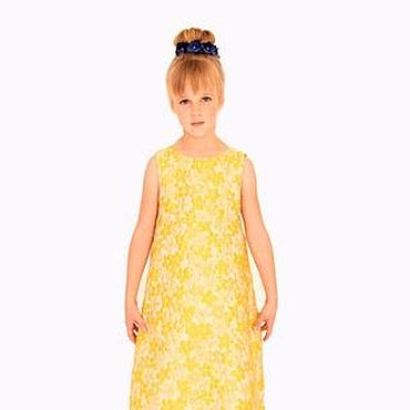 Работы для детей, ручной работы. Ярмарка Мастеров - ручная работа Желтое нарядное платье для девочки из жаккарда. Handmade.