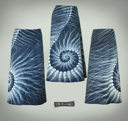 """Юбки ручной работы. Ярмарка Мастеров - ручная работа. Купить Джинсовая юбка """"Другие миры"""" (распродажа). Handmade. Синий, абстрактный"""