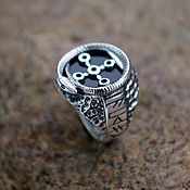 Украшения handmade. Livemaster - original item Silver finger-ring with black agate - Snake Chamber. Handmade.