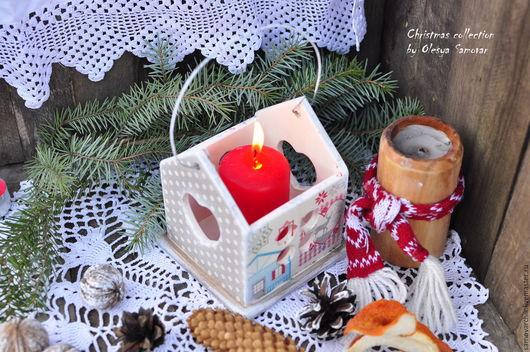 Подсвечники ручной работы. Ярмарка Мастеров - ручная работа. Купить Рождественский подсвечник. Handmade. Белый, красный, подарок на новый год
