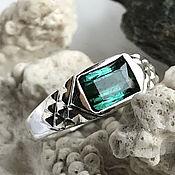 Украшения handmade. Livemaster - original item Men`s ring with rare Tourmaline Indigolite 2,07 ct handmade. Handmade.