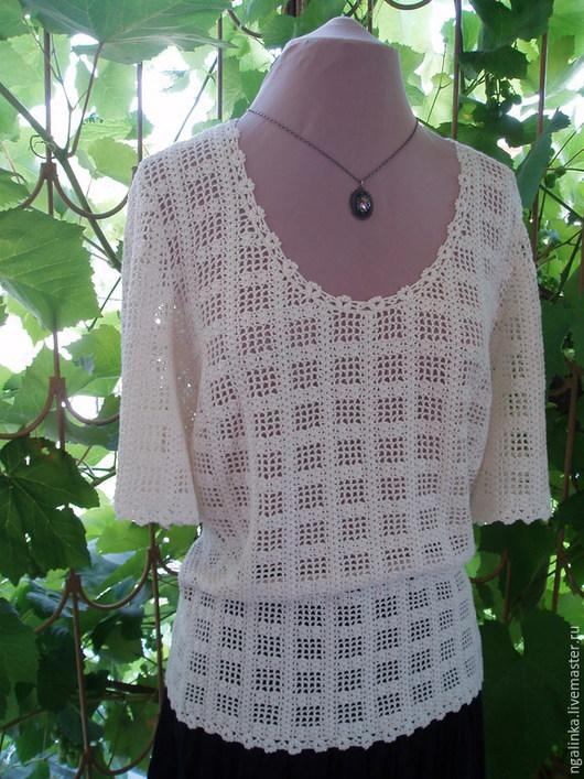 Кофты и свитера ручной работы. Ярмарка Мастеров - ручная работа. Купить блузка из вискозы Ажурные окошки. Handmade. Белый