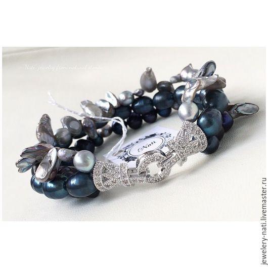 """Браслеты ручной работы. Ярмарка Мастеров - ручная работа. Купить Многорядный жемчужный браслет """"Blue pearl"""" (жемчуг, жемчуг кейши). Handmade."""